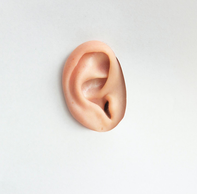 Ein Ohr, durch ein Loch in einem Stock Papier geschoben.