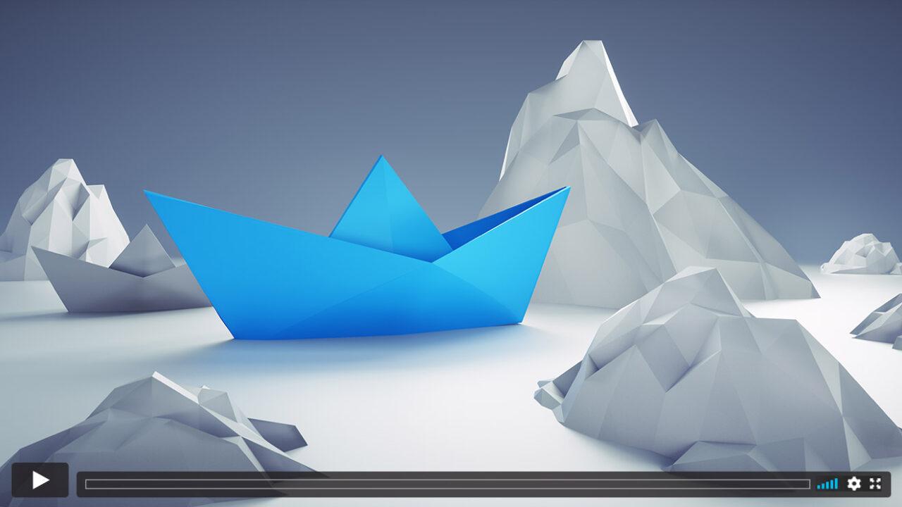 Eine Papierboot zwischen Eisbergen.