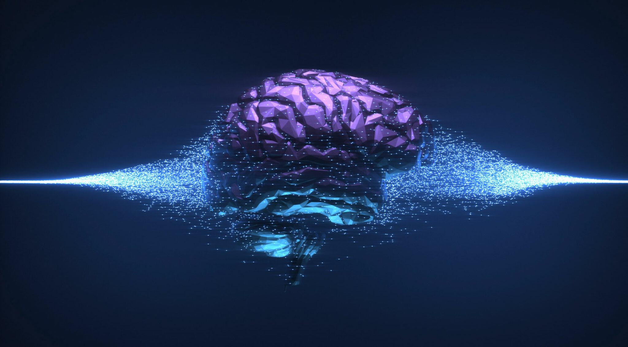 Gehirn in lila vor dunklem Hintergrund.