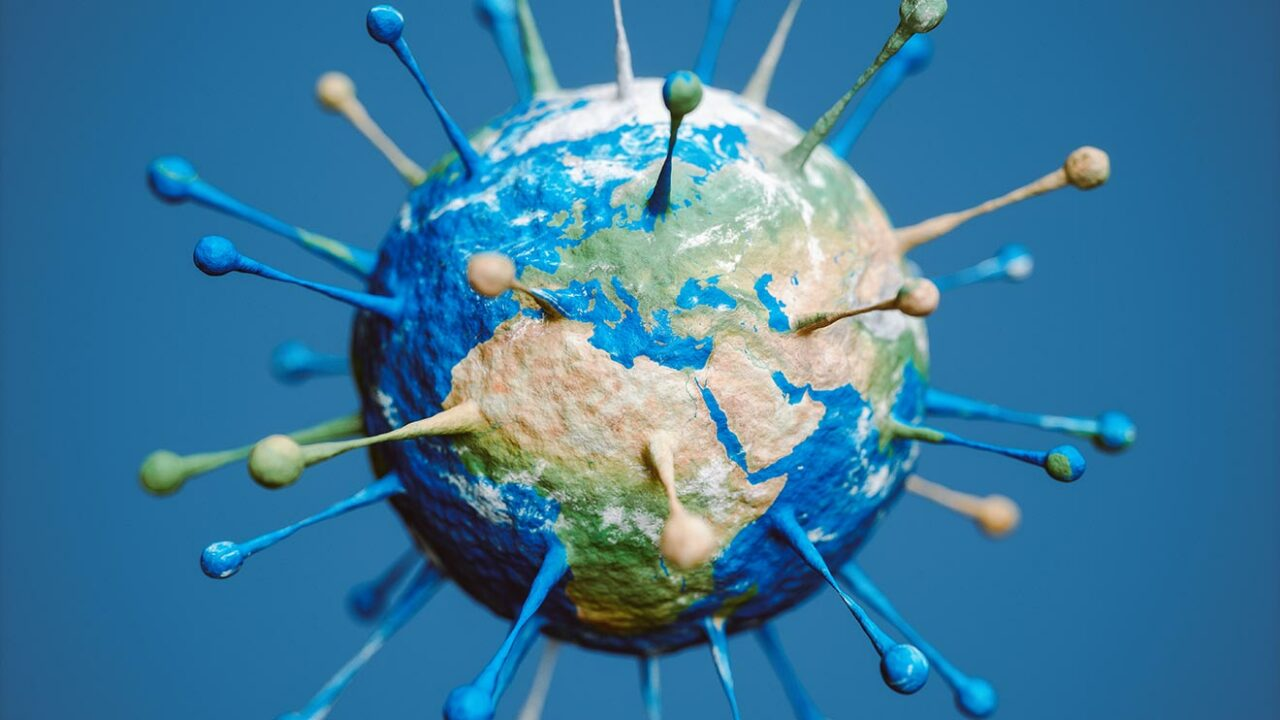 Die Erdkugel in Form eines Corona-Virus.