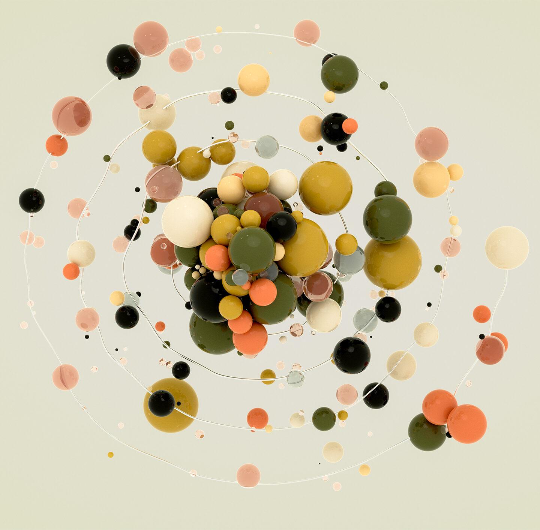 Kugeln in verschiedenen Farben und Größen.