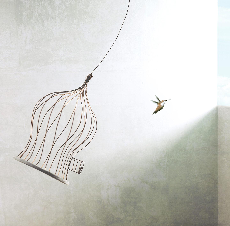 Illustration eines Vogels, der aus seinem Käfig fliegt.