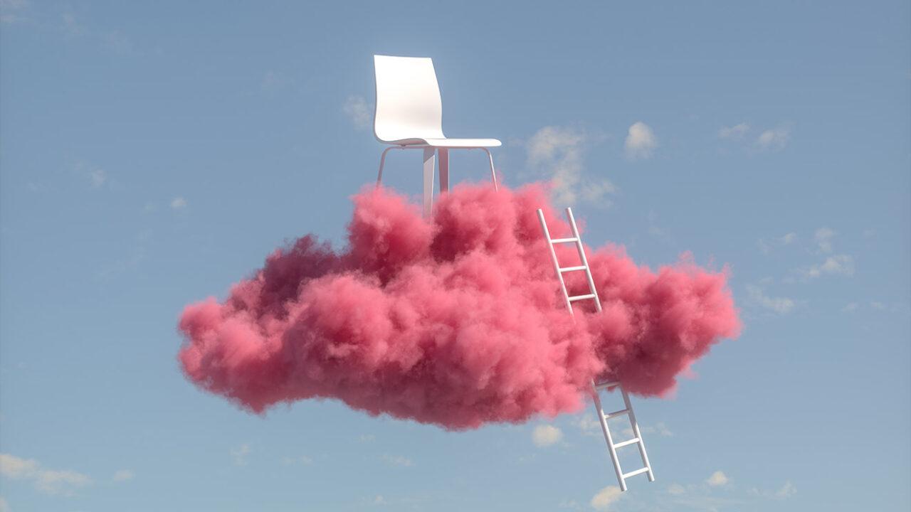 Stuhl auf pinker Wolke mit Leiter