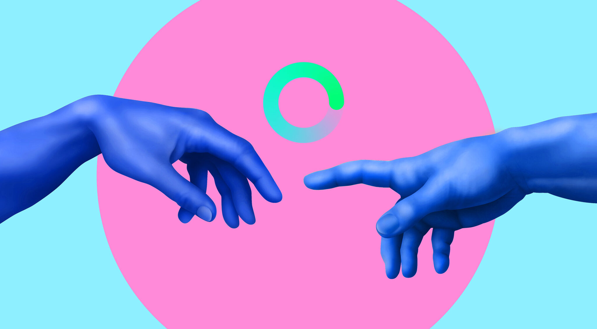 Grafische Darstellung zweier Hände, die sich berühren wollen.