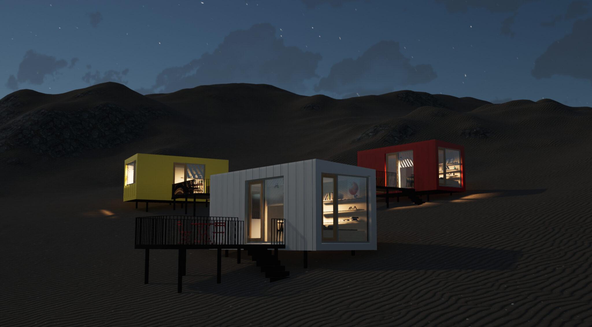 Beleuchtete Tiny Houses in der Nacht.