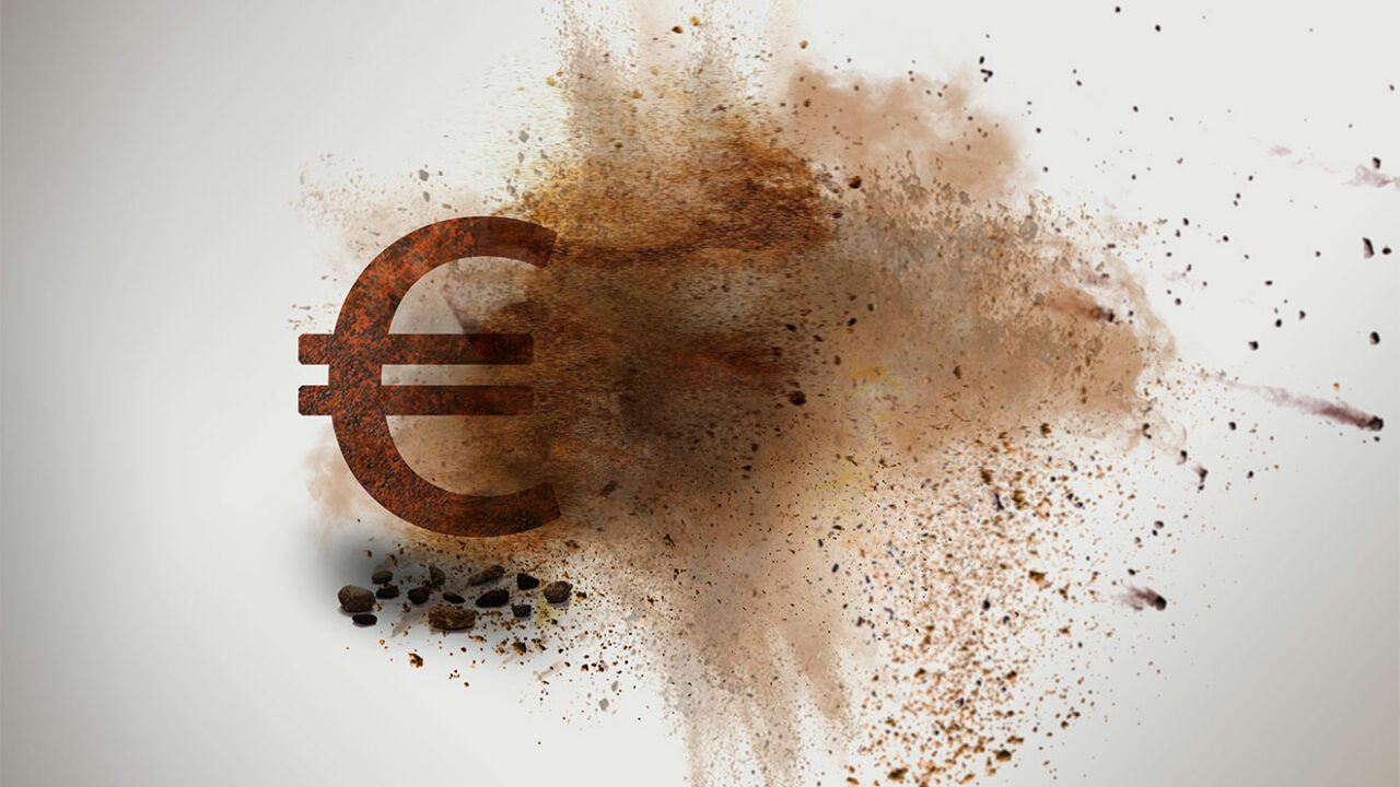 Explodierendes Euro-Zeichen.