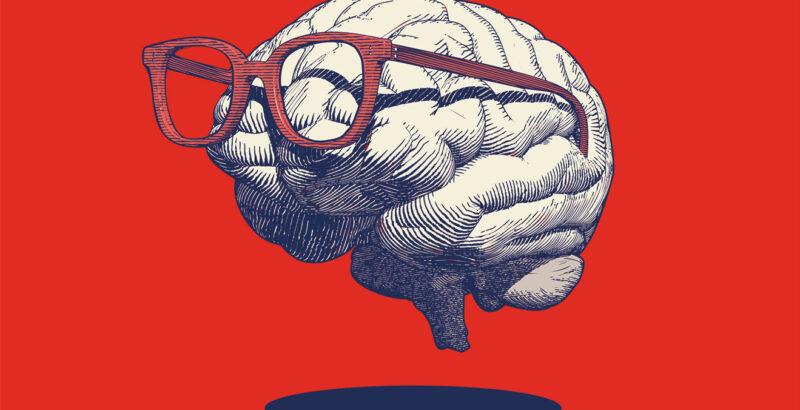 Illustration eines Gehirns, das eine Brille trägt.