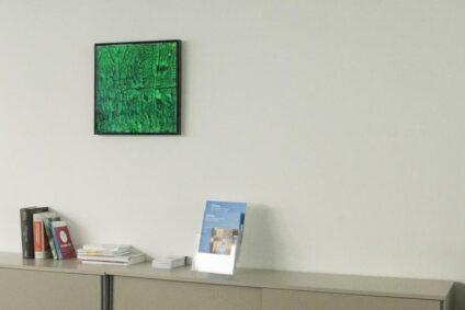 Das Alwe-Algenbild an einer Zimmerwand.