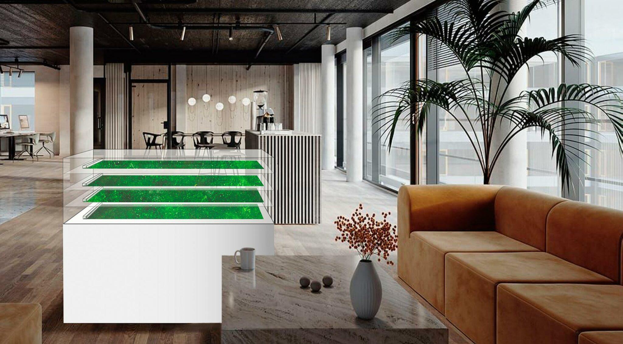 Eine Algenfarm in einer Lounge.
