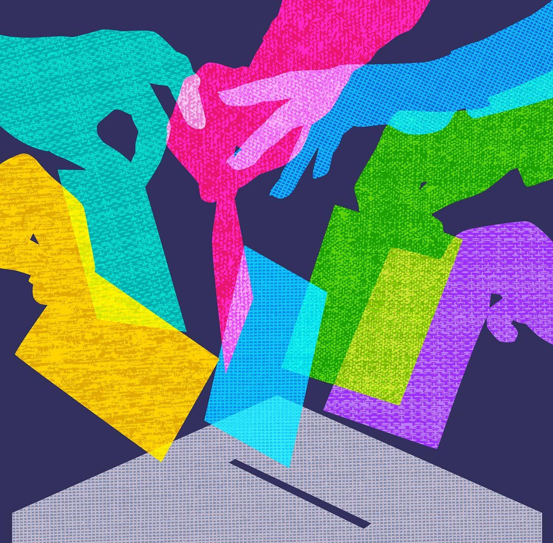 Bunte Illustration mehrer Menschen, die Wahlzettel in eine Wahlurne werfen.