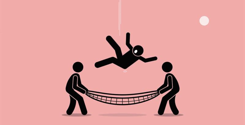 Illustration einer Person, die auf Fangnetz fällt, das von zwei weiteren Personen gehalten wird.