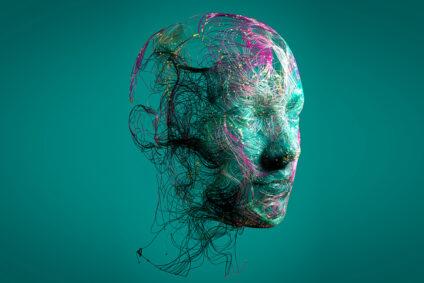Darstellung eines menschlichen Gesichts aus grünen und pinken Fäden.