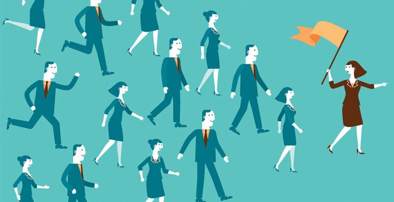 Illustration von Mitarbeitern, die einer Frau mit oranger Fahne folgen.