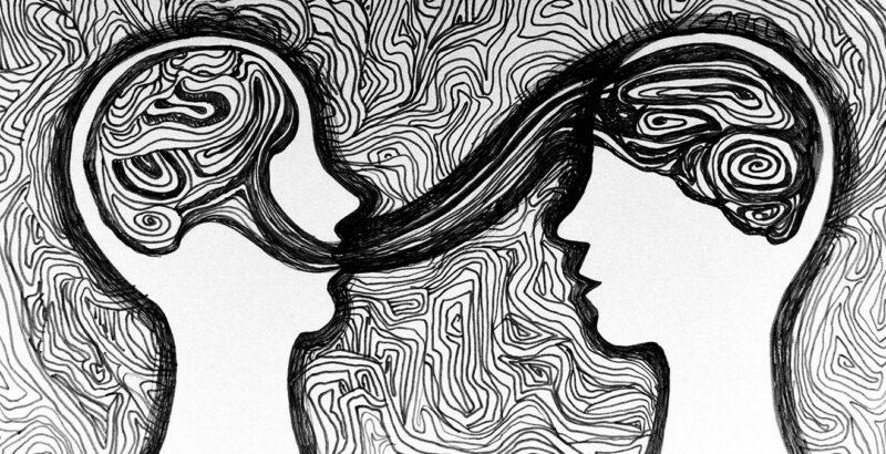 Zeichnung zweier Menschen, verbunden durch Linien.