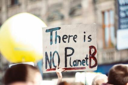 """Schild auf einer Demonstration mit der Aufschrift """"There is no Planet B""""."""