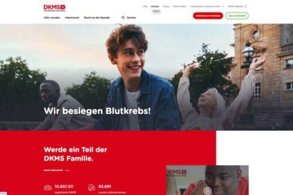 Screenshot der Homepage der DKMS.