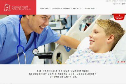 Screenshot der Homepage des Hamburg macht Kinder gesund eV.