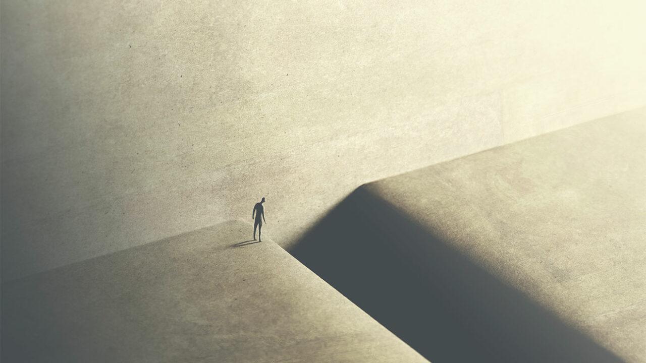 Illustration einer kleinen Person in grauer Landschaft.