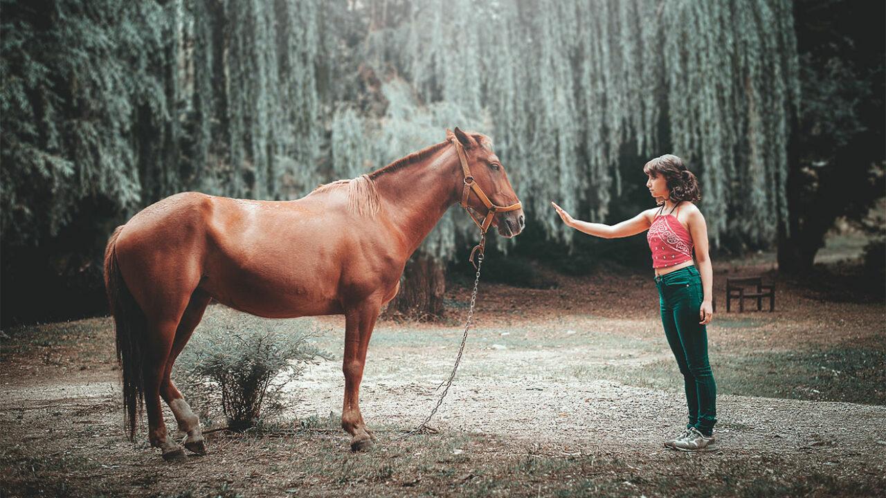 Eine Frau mit Pferd.