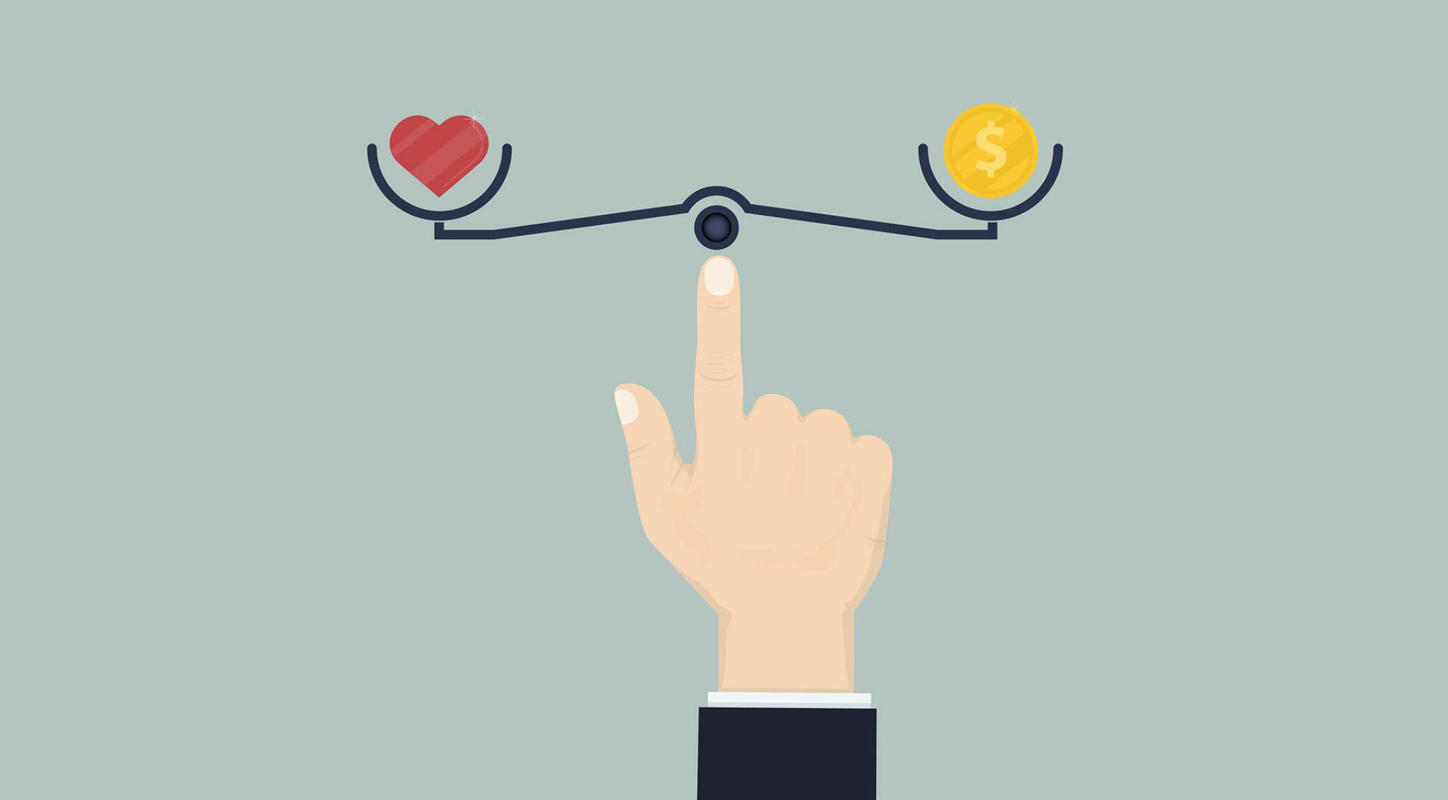 Illustration einer Waage, mit einem Herz in einer Waagschale, einer Münze in der anderen.