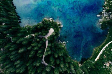 Vogelperspektive auf einen tiefblauen See, umgeben von einem Wald aus Nadelbäumen.