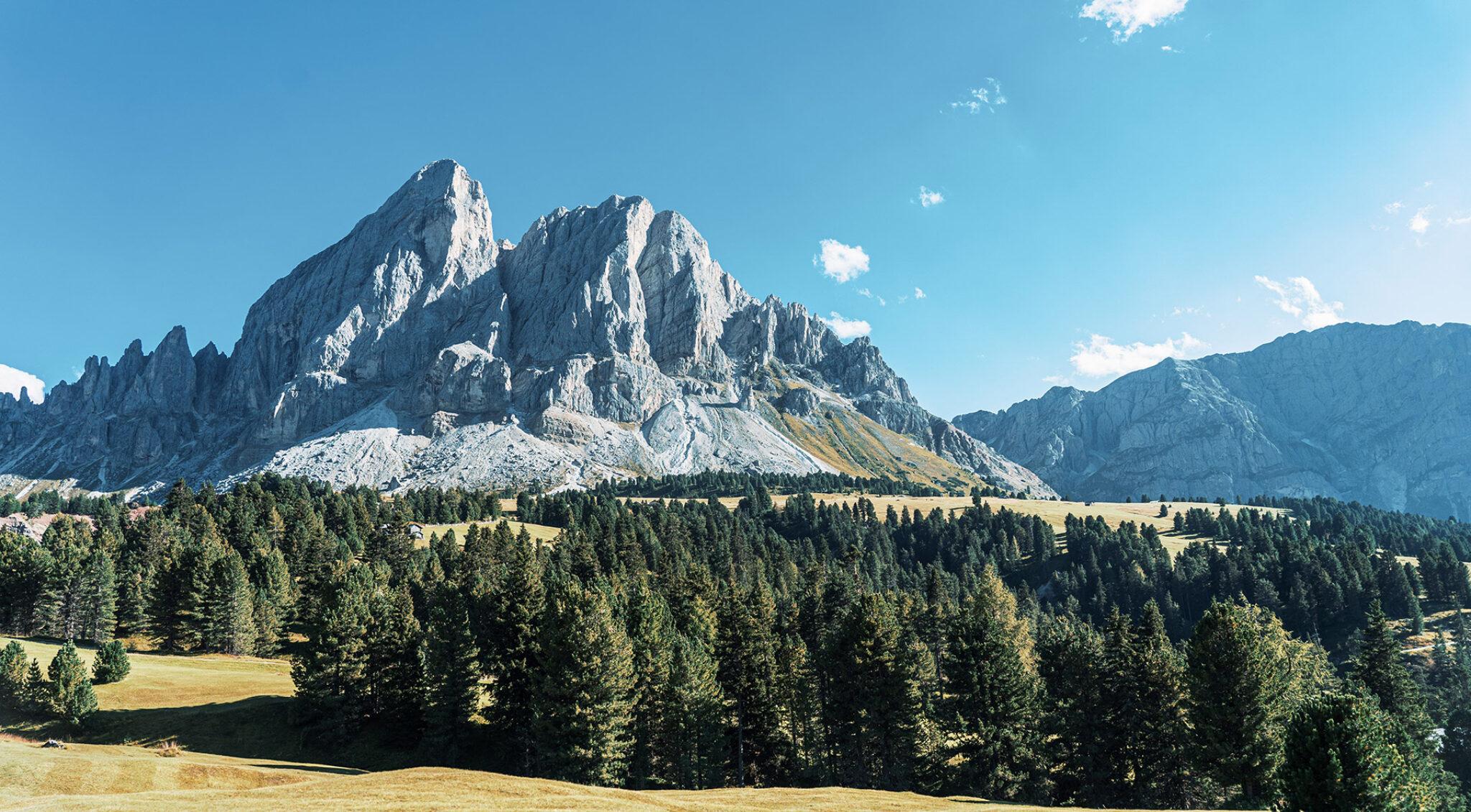 Landschaft mit Bergen und Wiesen.