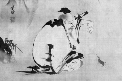 Stoffzeichnung eines Mönches.
