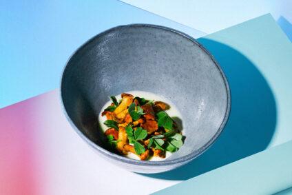 Schale mit Gericht aus Pfifferlingen und Sauerklee.