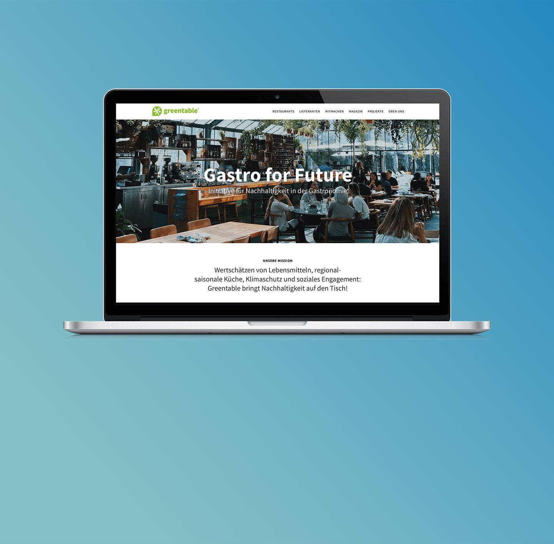 Screenshot der Greentable-Website.