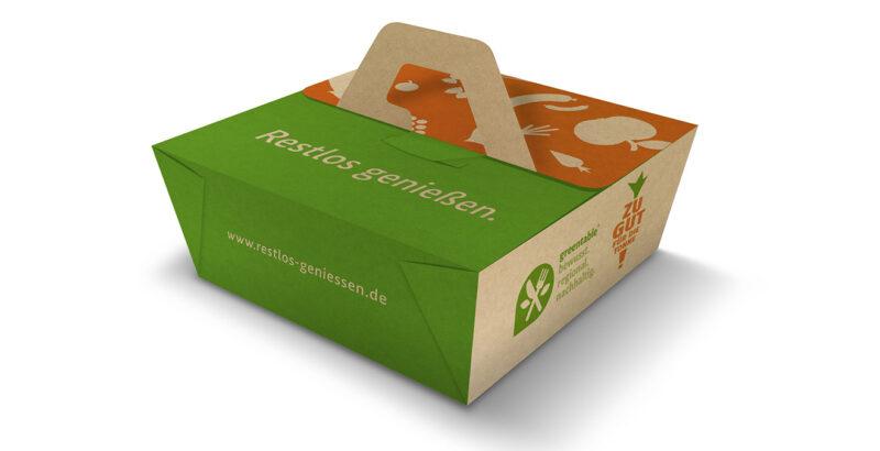 Die Beste-Reste-Box aus kompostierbarem Karton.